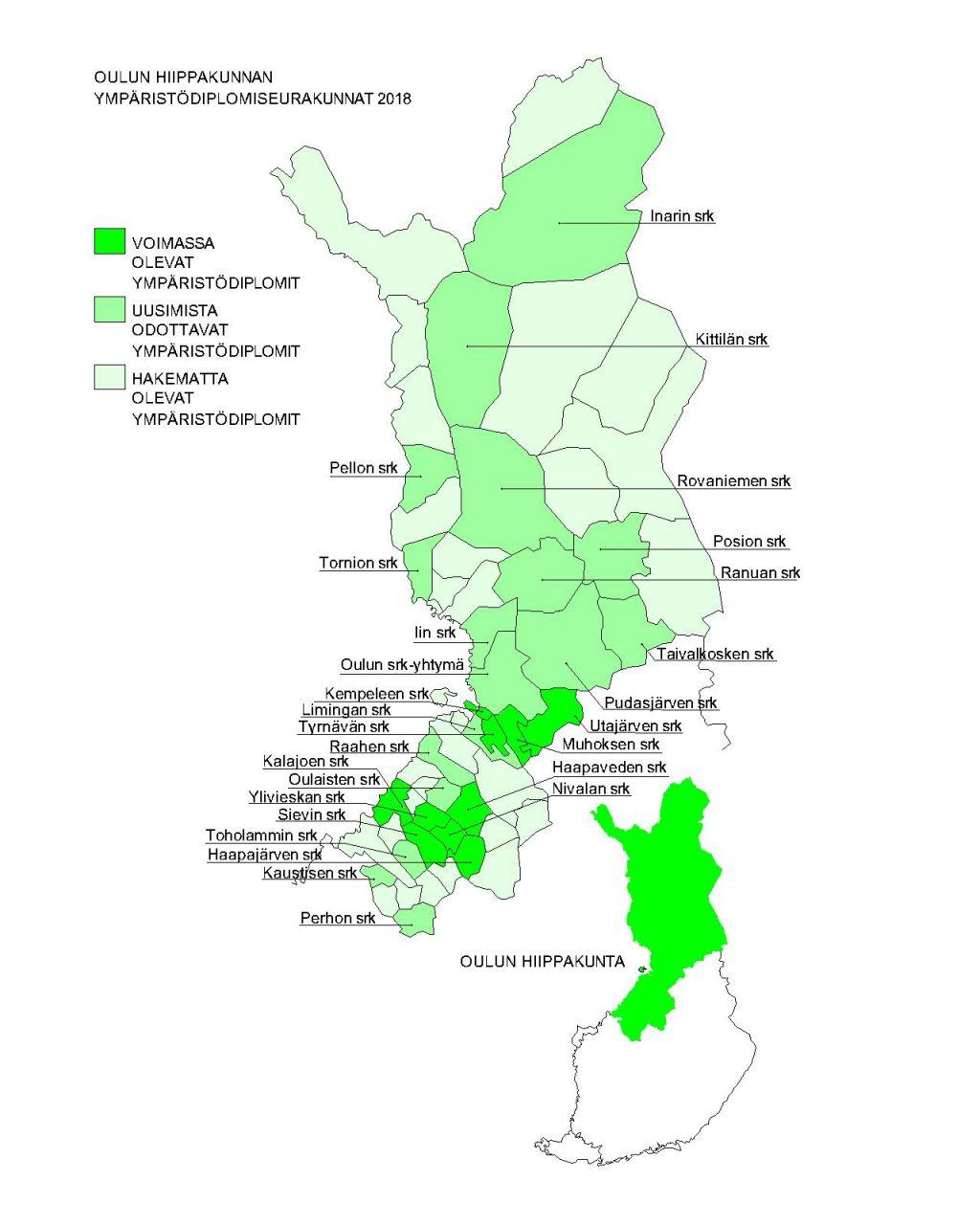 Oulun hiippakunnan ympäristödiplomiseurakunnat