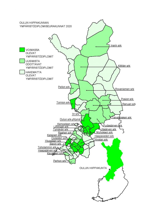 Kartta ympäristödiplomi seurakunnista
